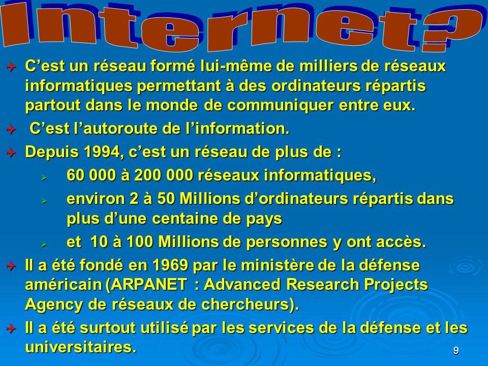 10 Internet sest développé des USA vers les autres pays.