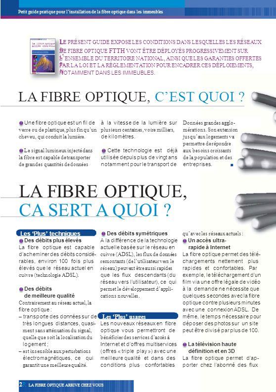 Petit guide pratique pour linstallation de la fibre optique dans les immeubles La fibre optique jusquà labonné : le FTTH Le FTTH (pour Fiber to the Home) correspond au déploiement de la fibre optique jusque dans les logements des utilisateurs.