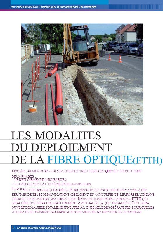 Petit guide pratique pour linstallation de la fibre optique dans les immeubles LES MODALITES DU DEPLOIEMENT DE LA FIBRE OPTIQUE (FTTH) L ES DÉPLOIEMEN