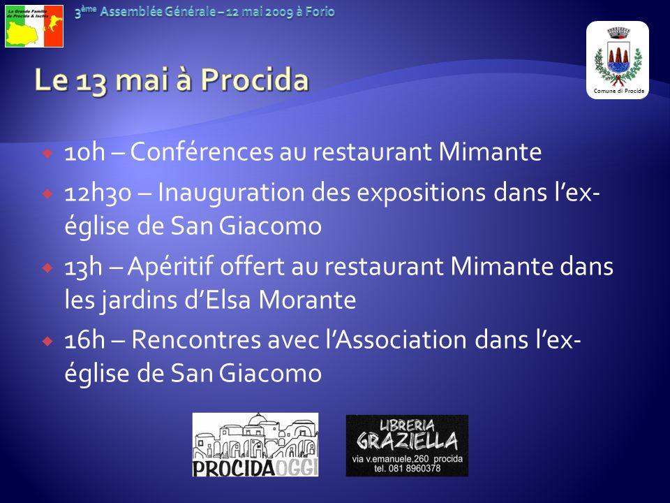 10h – Conférences au restaurant Mimante 12h30 – Inauguration des expositions dans lex- église de San Giacomo 13h – Apéritif offert au restaurant Miman