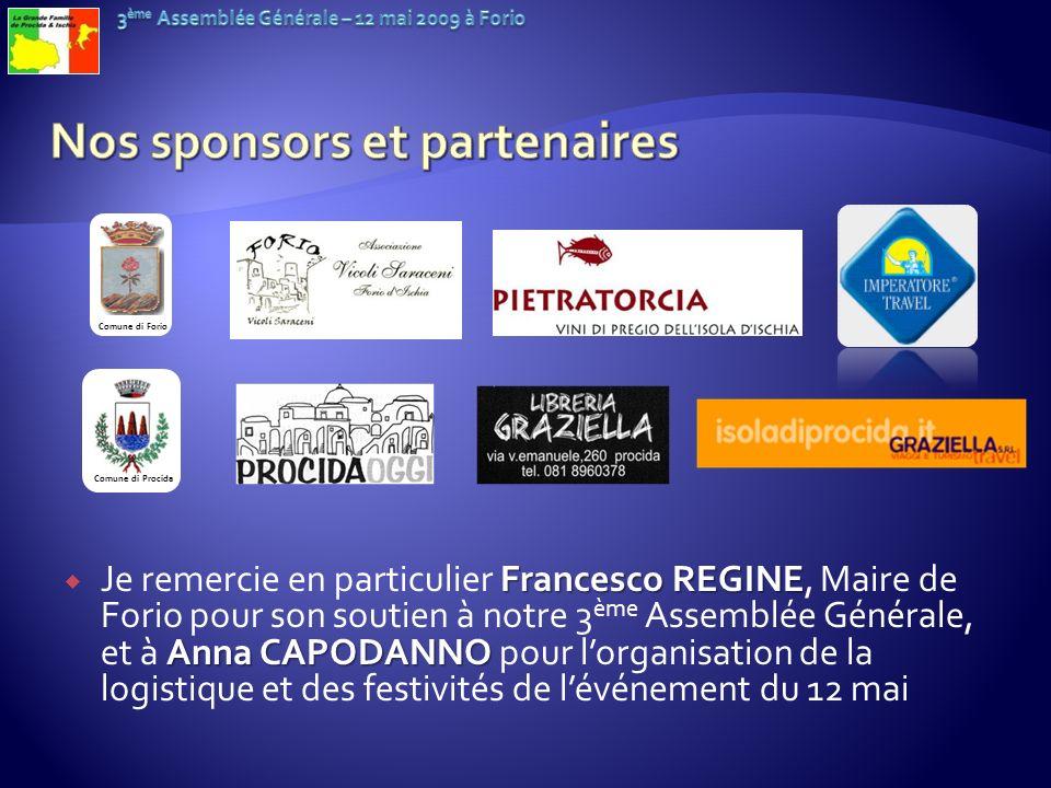 Francesco REGINE Anna CAPODANNO Je remercie en particulier Francesco REGINE, Maire de Forio pour son soutien à notre 3 ème Assemblée Générale, et à An