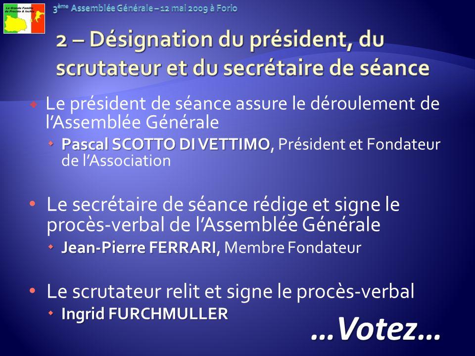 Le président de séance assure le déroulement de lAssemblée Générale Pascal SCOTTO DI VETTIMO Pascal SCOTTO DI VETTIMO, Président et Fondateur de lAsso