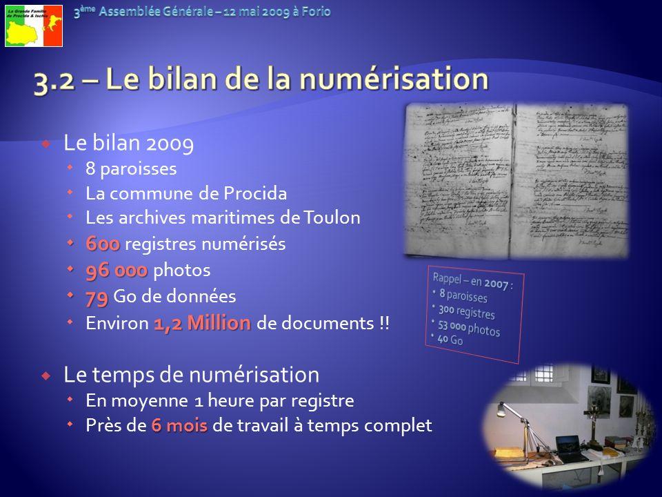 Le bilan 2009 8 paroisses La commune de Procida Les archives maritimes de Toulon 600 600 registres numérisés 96 000 96 000 photos 79 79 Go de données