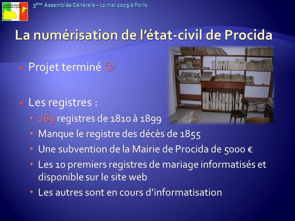 Projet terminé Les registres : 269 269 registres de 1810 à 1899 Manque le registre des décès de 1855 Une subvention de la Mairie de Procida de 5000 Le