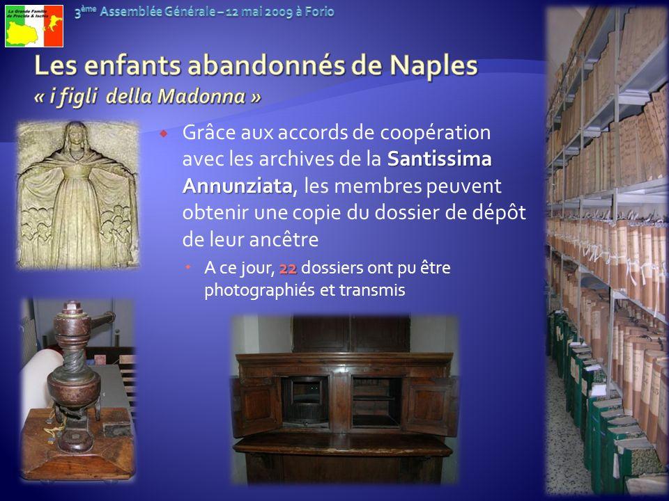 Santissima Annunziata Grâce aux accords de coopération avec les archives de la Santissima Annunziata, les membres peuvent obtenir une copie du dossier