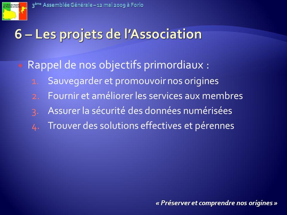 Rappel de nos objectifs primordiaux : 1.Sauvegarder et promouvoir nos origines 2.Fournir et améliorer les services aux membres 3.Assurer la sécurité d