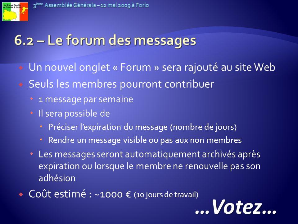 Un nouvel onglet « Forum » sera rajouté au site Web Seuls les membres pourront contribuer 1 message par semaine Il sera possible de Préciser lexpirati