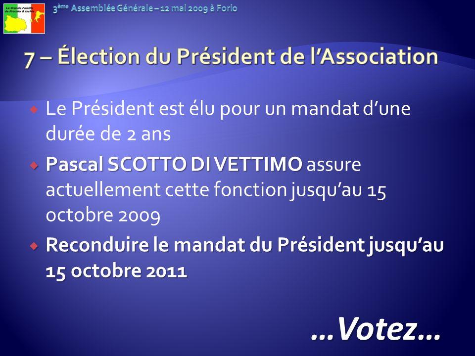 Le Président est élu pour un mandat dune durée de 2 ans Pascal SCOTTO DI VETTIMO Pascal SCOTTO DI VETTIMO assure actuellement cette fonction jusquau 1
