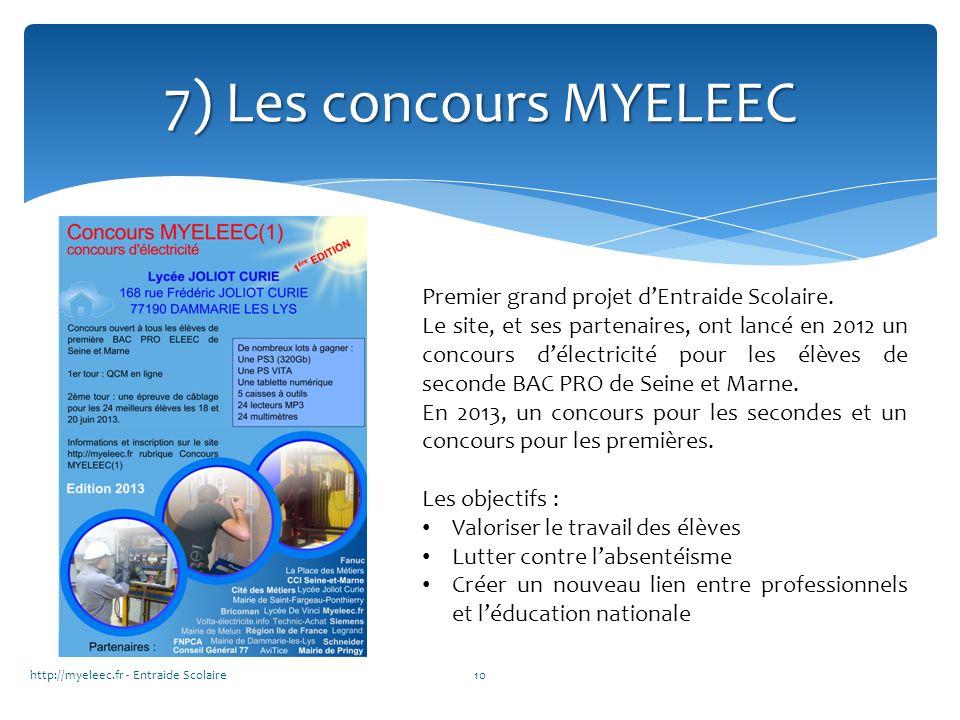 http://myeleec.fr - Entraide Scolaire10 7) Les concours MYELEEC Premier grand projet dEntraide Scolaire. Le site, et ses partenaires, ont lancé en 201