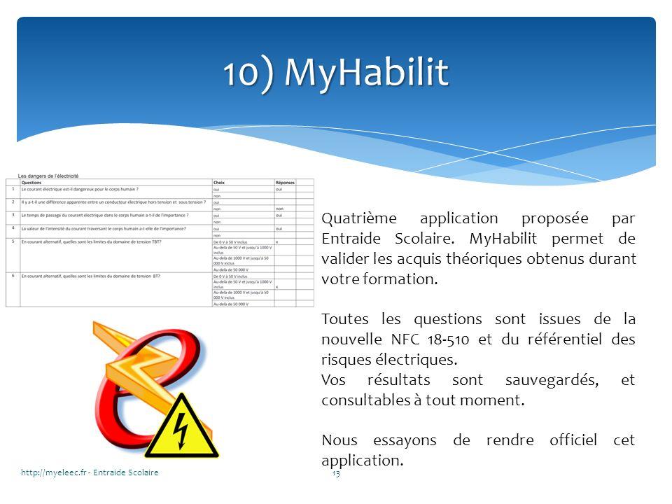 http://myeleec.fr - Entraide Scolaire13 10) MyHabilit Quatrième application proposée par Entraide Scolaire. MyHabilit permet de valider les acquis thé
