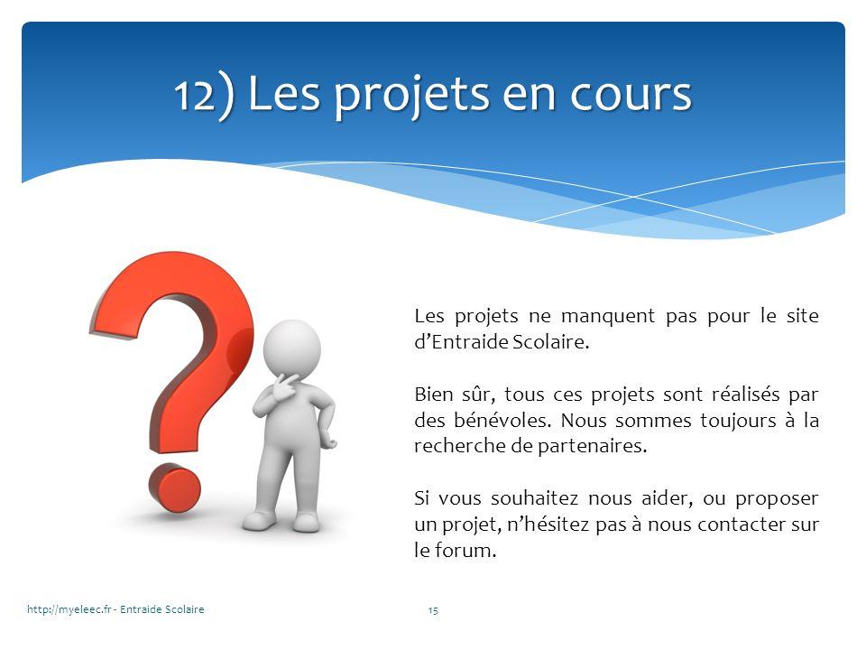http://myeleec.fr - Entraide Scolaire15 12) Les projets en cours Les projets ne manquent pas pour le site dEntraide Scolaire. Bien sûr, tous ces proje