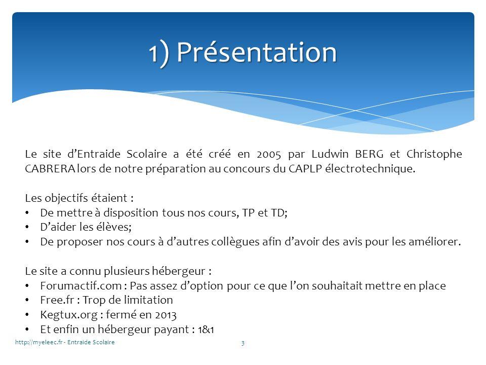 1) Présentation Le site dEntraide Scolaire a été créé en 2005 par Ludwin BERG et Christophe CABRERA lors de notre préparation au concours du CAPLP éle
