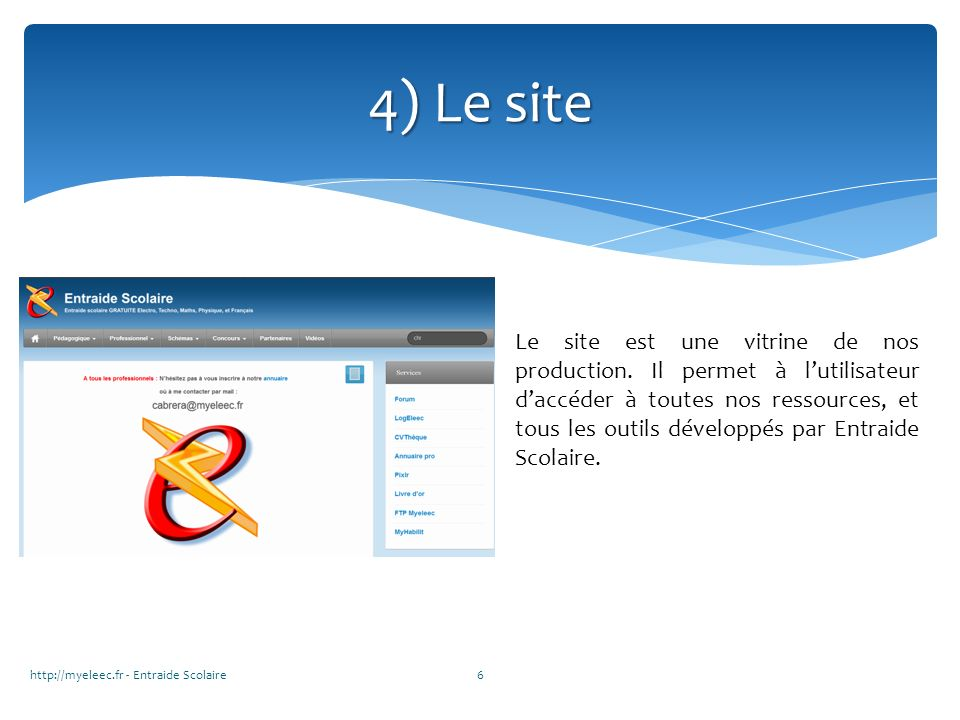 4) Le site http://myeleec.fr - Entraide Scolaire6 Le site est une vitrine de nos production. Il permet à lutilisateur daccéder à toutes nos ressources