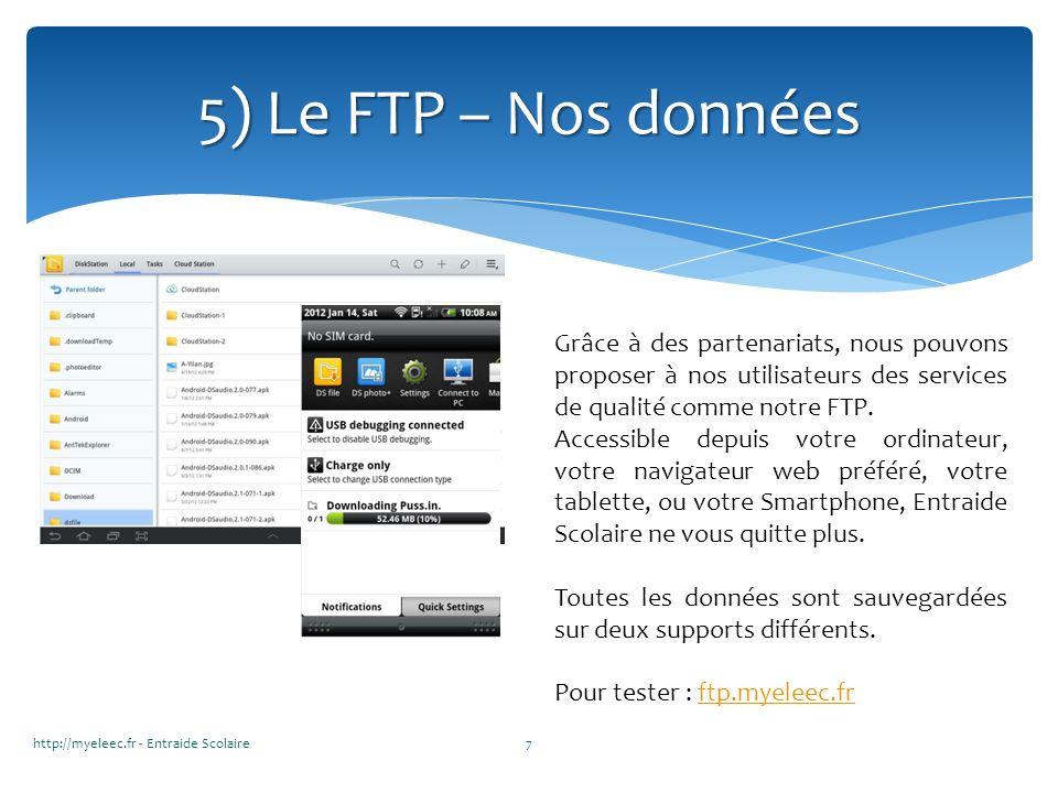 http://myeleec.fr - Entraide Scolaire7 5) Le FTP – Nos données Grâce à des partenariats, nous pouvons proposer à nos utilisateurs des services de qual