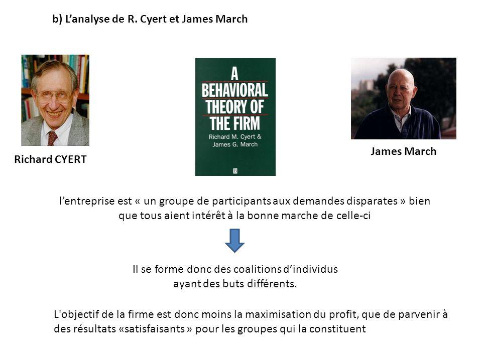 b) Lanalyse de R. Cyert et James March James March Richard CYERT lentreprise est « un groupe de participants aux demandes disparates » bien que tous a