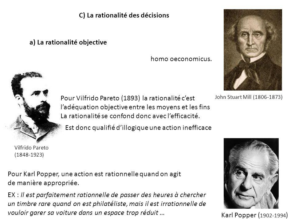 C) La rationalité des décisions a) La rationalité objective homo oeconomicus. John Stuart Mill (1806-1873) Est donc qualifié dillogique une action ine