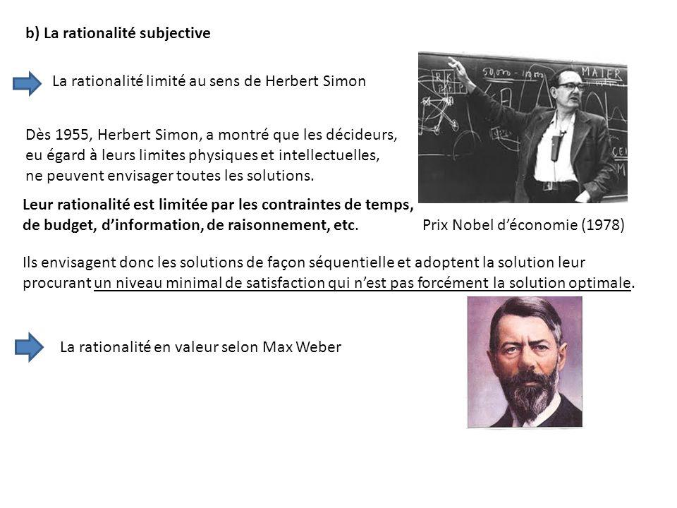 b) La rationalité subjective Dès 1955, Herbert Simon, a montré que les décideurs, eu égard à leurs limites physiques et intellectuelles, ne peuvent en