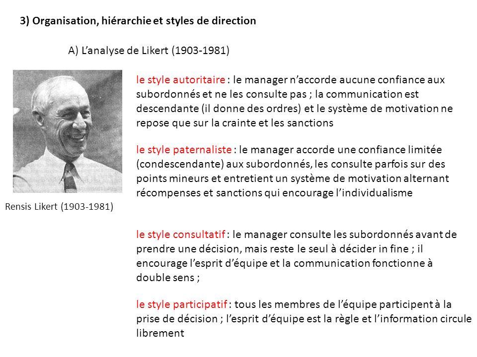 3) Organisation, hiérarchie et styles de direction Rensis Likert (1903-1981) le style autoritaire : le manager naccorde aucune confiance aux subordonn