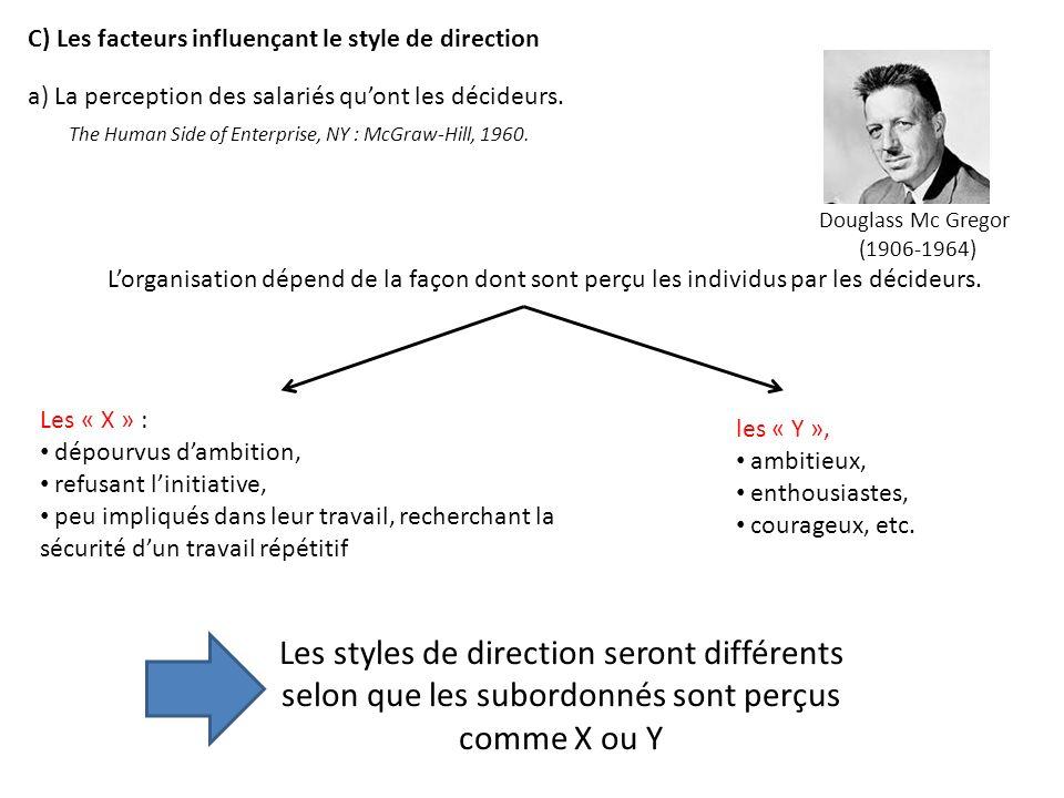 Lorganisation dépend de la façon dont sont perçu les individus par les décideurs. Les « X » : dépourvus dambition, refusant linitiative, peu impliqués