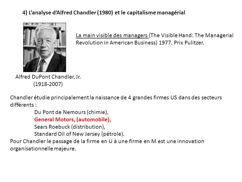 4) Lanalyse dAlfred Chandler (1980) et le capitalisme managérial Chandler étudie principalement la naissance de 4 grandes firmes US dans des secteurs