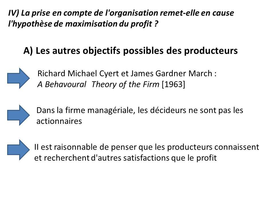 IV) La prise en compte de l'organisation remet-elle en cause l'hypothèse de maximisation du profit ? A) Les autres objectifs possibles des producteurs