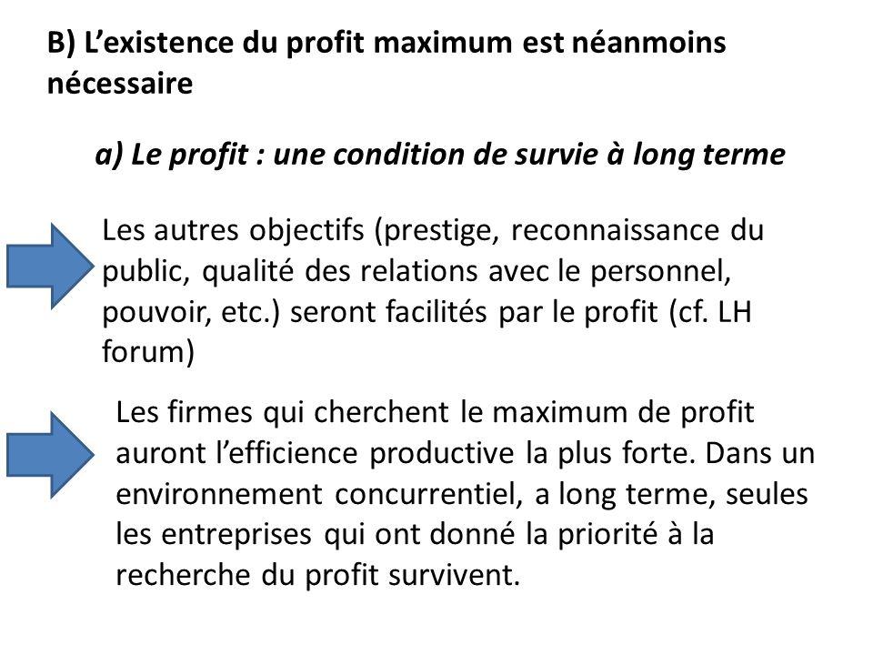 B) Lexistence du profit maximum est néanmoins nécessaire a) Le profit : une condition de survie à long terme Les autres objectifs (prestige, reconnais