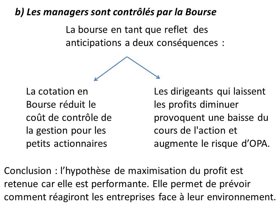 b) Les managers sont contrôlés par la Bourse La bourse en tant que reflet des anticipations a deux conséquences : La cotation en Bourse réduit le coût