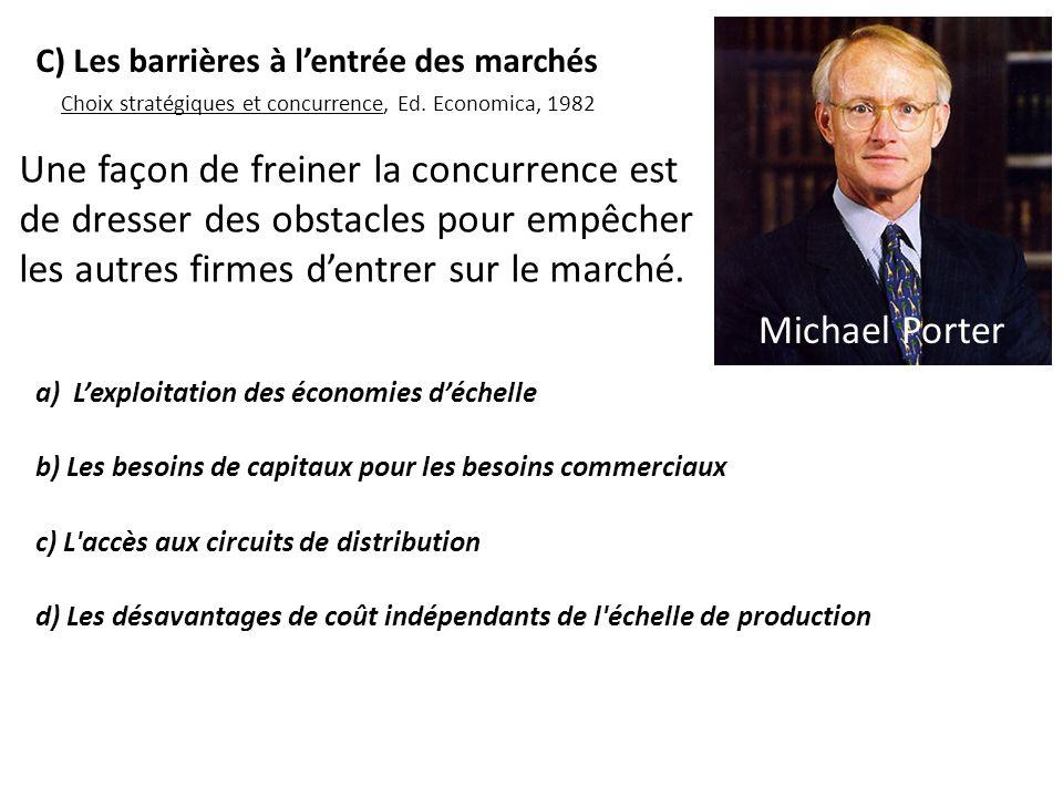 Une façon de freiner la concurrence est de dresser des obstacles pour empêcher les autres firmes dentrer sur le marché. a) Lexploitation des économies