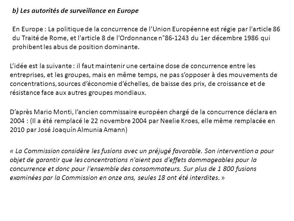 b) Les autorités de surveillance en Europe En Europe : La politique de la concurrence de lUnion Européenne est régie par l'article 86 du Traité de Rom