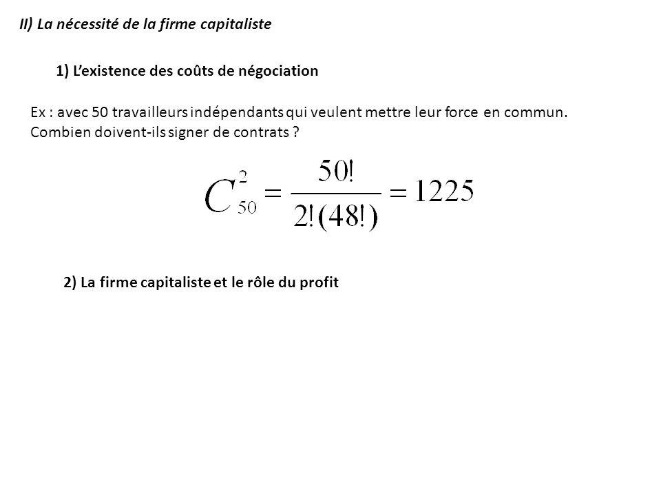2) La firme capitaliste et le rôle du profit II) La nécessité de la firme capitaliste 1) Lexistence des coûts de négociation Ex : avec 50 travailleurs