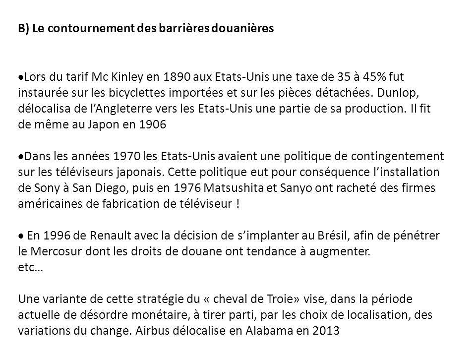 B) Le contournement des barrières douanières Lors du tarif Mc Kinley en 1890 aux Etats-Unis une taxe de 35 à 45% fut instaurée sur les bicyclettes imp