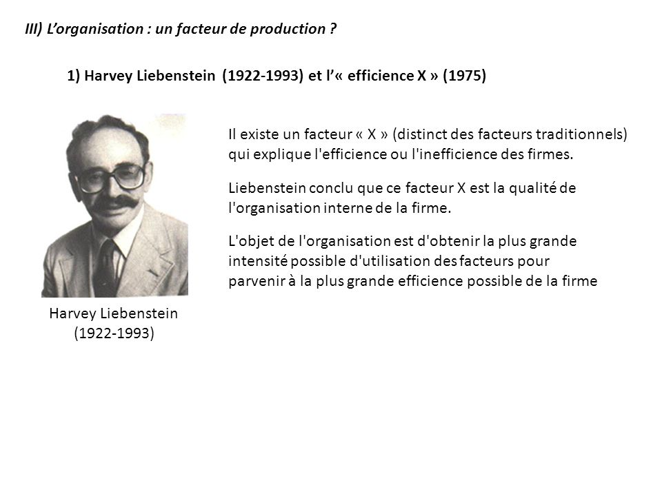 III) Lorganisation : un facteur de production ? 1) Harvey Liebenstein (1922-1993) et l« efficience X » (1975) Il existe un facteur « X » (distinct des