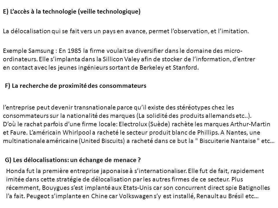 E) Laccès à la technologie (veille technologique) La délocalisation qui se fait vers un pays en avance, permet lobservation, et limitation. Exemple Sa