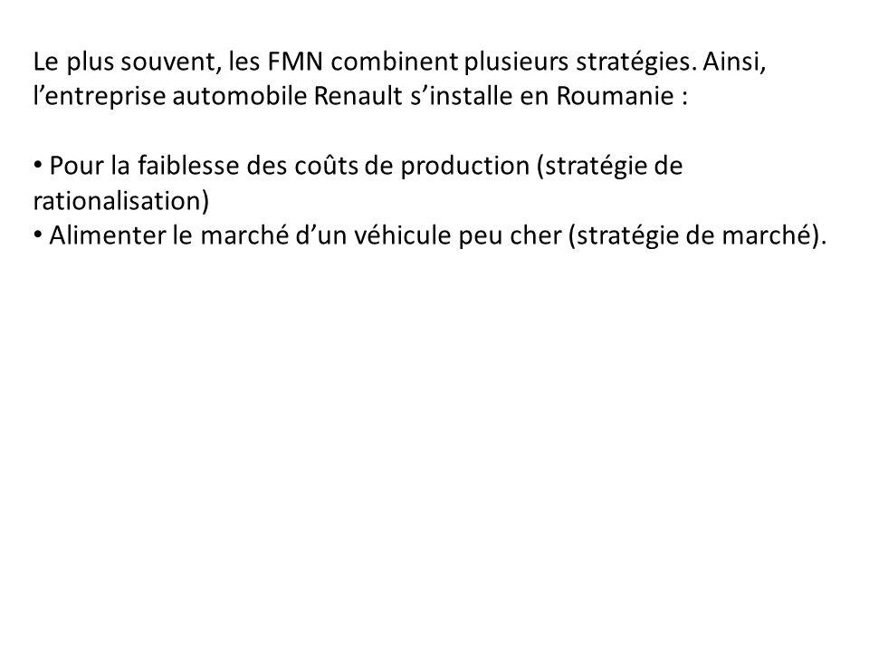 Le plus souvent, les FMN combinent plusieurs stratégies. Ainsi, lentreprise automobile Renault sinstalle en Roumanie : Pour la faiblesse des coûts de