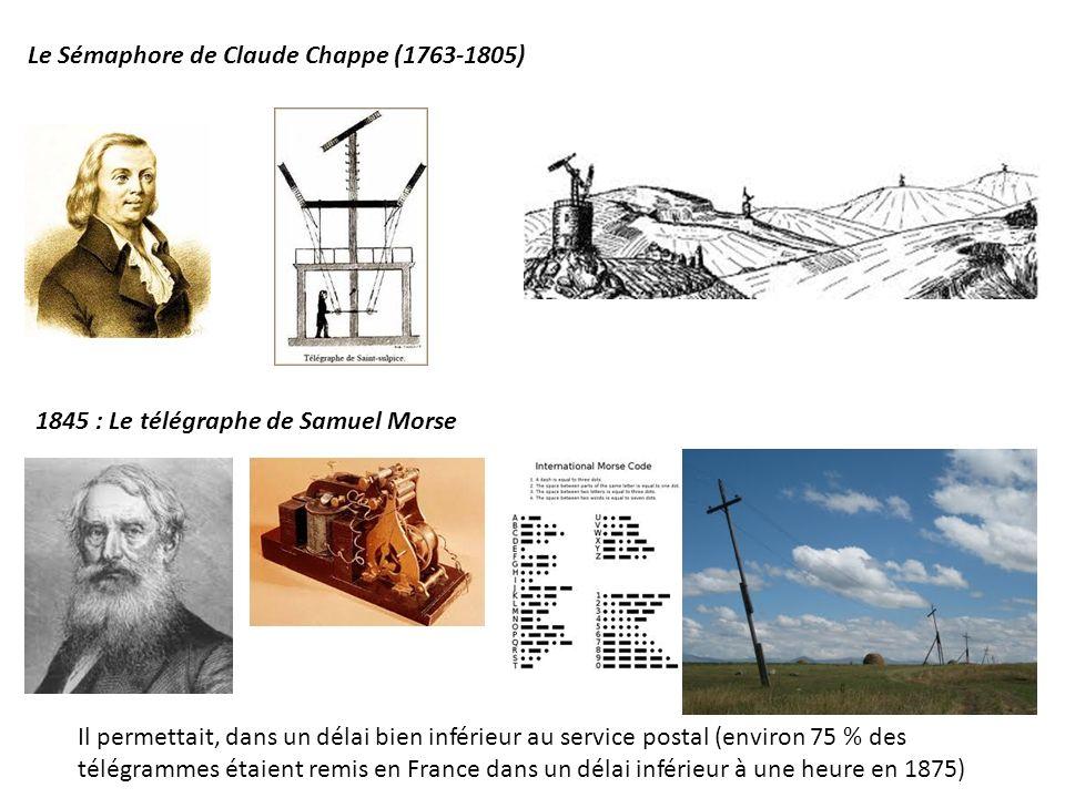 1845 : Le télégraphe de Samuel Morse Le Sémaphore de Claude Chappe (1763-1805) Il permettait, dans un délai bien inférieur au service postal (environ