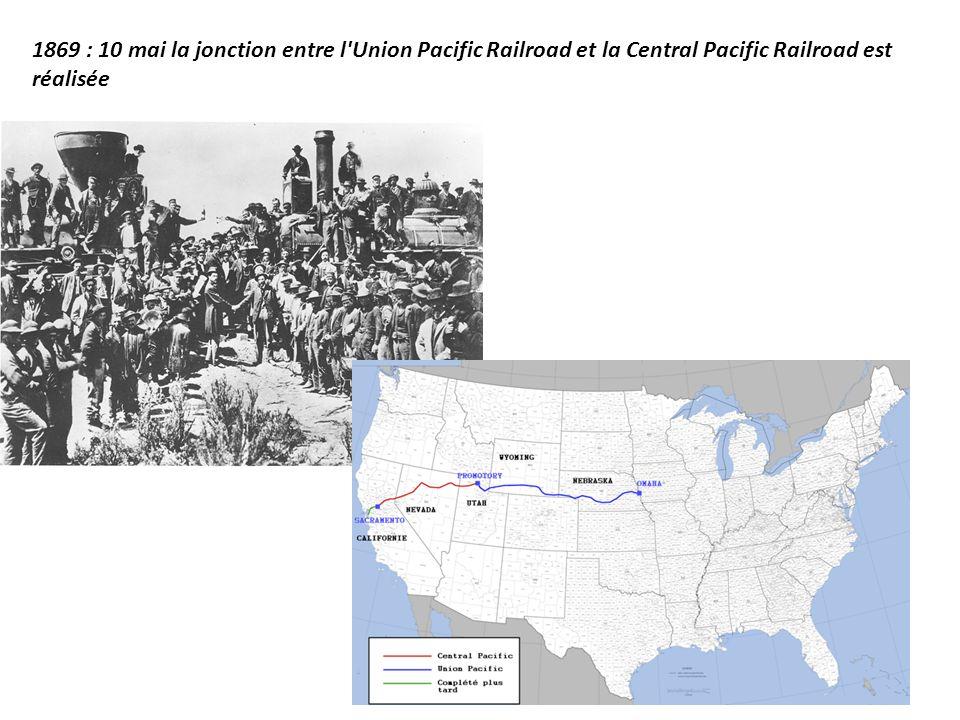 1869 : 10 mai la jonction entre l'Union Pacific Railroad et la Central Pacific Railroad est réalisée