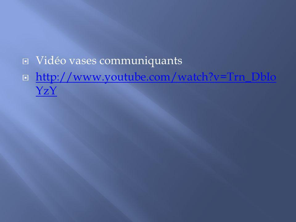 Vidéo vases communiquants http://www.youtube.com/watch?v=Trn_DbIo YzY http://www.youtube.com/watch?v=Trn_DbIo YzY
