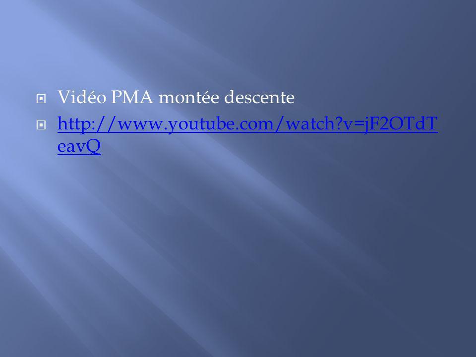 Vidéo PMA montée descente http://www.youtube.com/watch?v=jF2OTdT eavQ http://www.youtube.com/watch?v=jF2OTdT eavQ