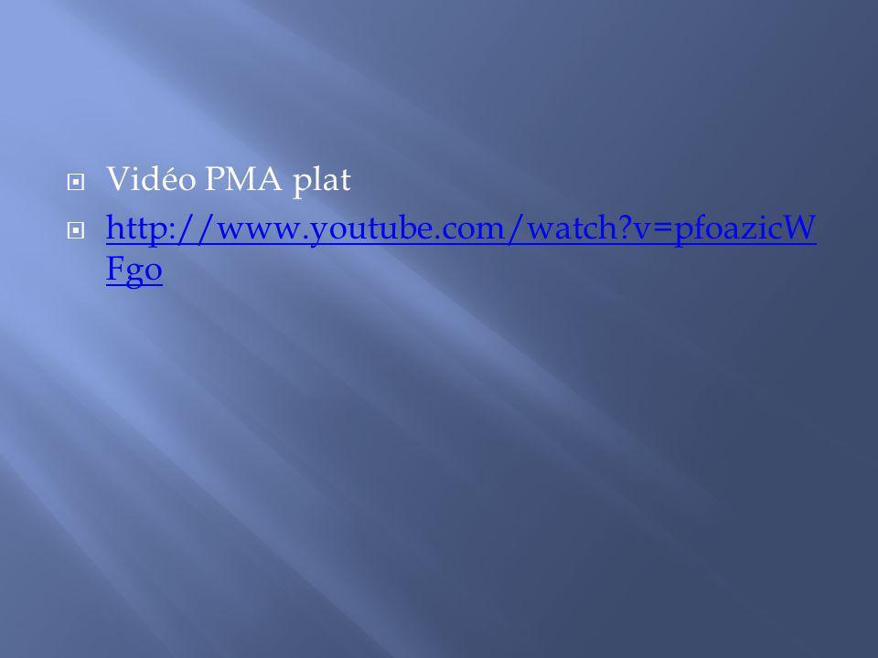 Vidéo PMA plat http://www.youtube.com/watch?v=pfoazicW Fgo http://www.youtube.com/watch?v=pfoazicW Fgo