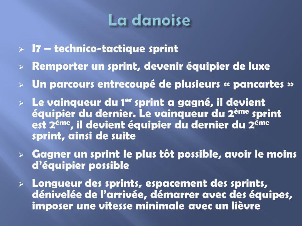 I7 – technico-tactique sprint Remporter un sprint, devenir équipier de luxe Un parcours entrecoupé de plusieurs « pancartes » Le vainqueur du 1 er spr