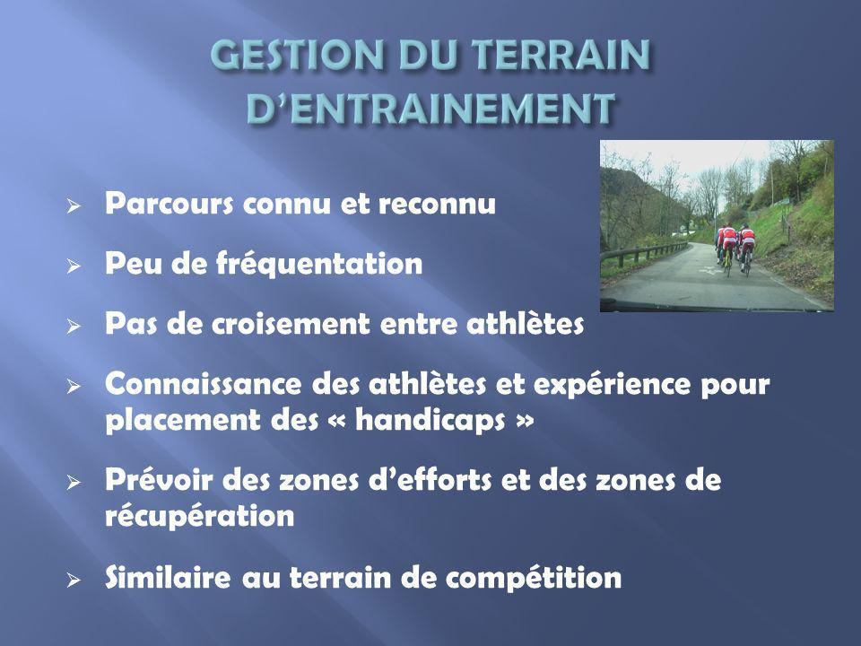 Parcours connu et reconnu Peu de fréquentation Pas de croisement entre athlètes Connaissance des athlètes et expérience pour placement des « handicaps