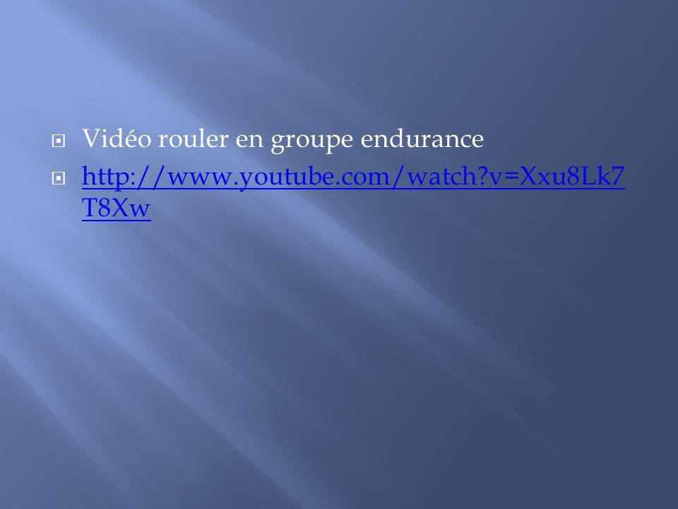 Vidéo rouler en groupe endurance http://www.youtube.com/watch?v=Xxu8Lk7 T8Xw http://www.youtube.com/watch?v=Xxu8Lk7 T8Xw
