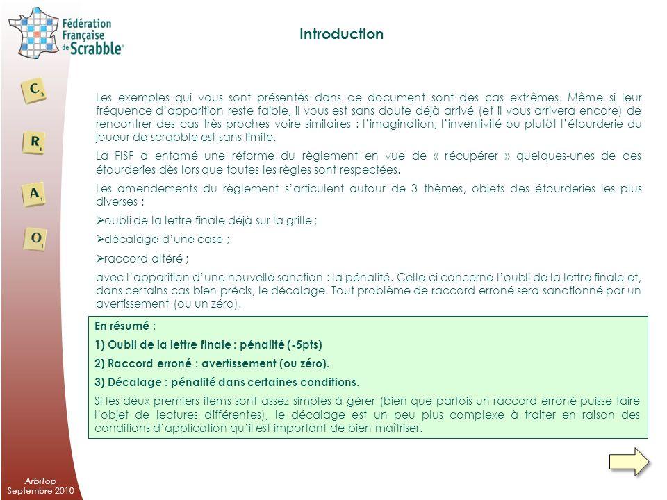 Exemples dapplication du nouveau règlement FISF septembre 2010 ArbiTop Commission Règlement Arbitrage Organisation Framboise Leclerc – 3 rue Jacques Cartier – 78180 Montigny le Bretonneux –01 30 57 12 00 – 06 62 26 12 00