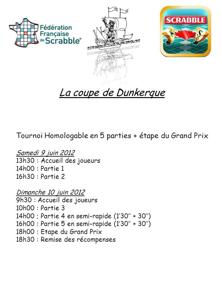 La coupe de Dunkerque Tournoi Homologable en 5 parties + étape du Grand Prix Samedi 9 juin 2012 13h30 : Accueil des joueurs 14h00 : Partie 1 16h30 : P