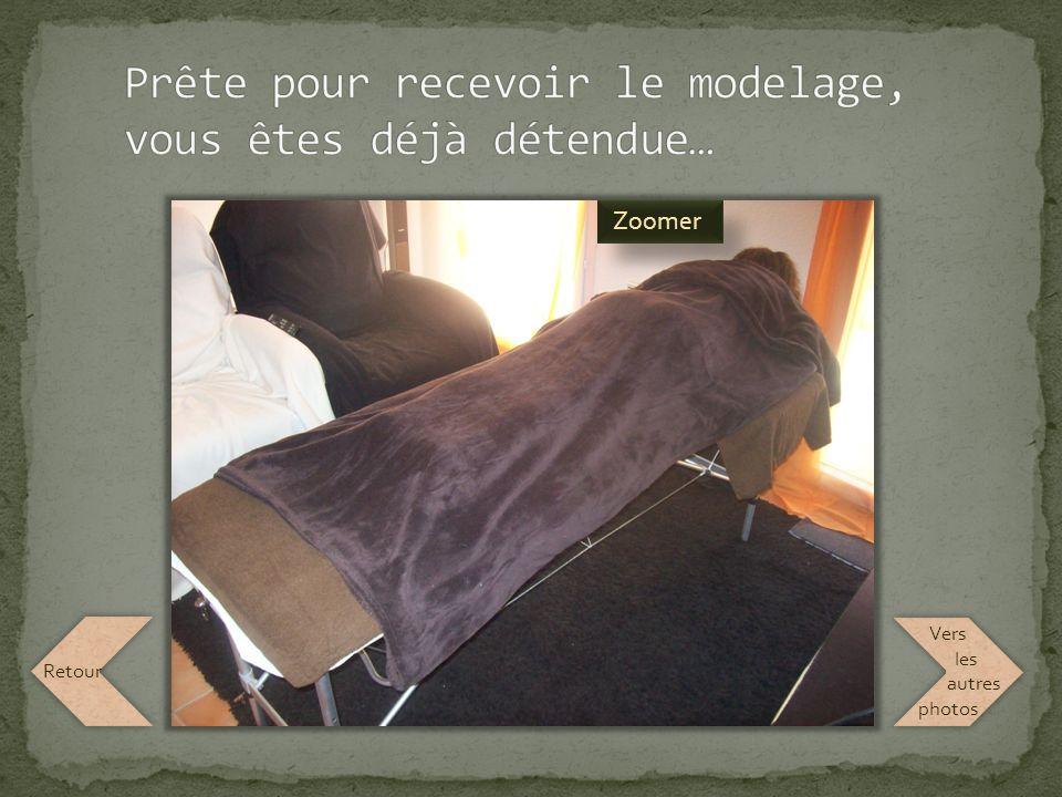 Placez votre souris sur la table de soin pour voir comment vous serez installée lors de votre modelage Vers les autres photos