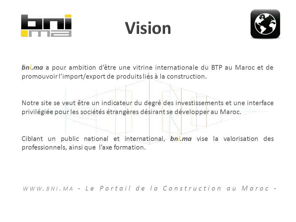 bni.ma a pour ambition dêtre une vitrine internationale du BTP au Maroc et de promouvoir limport/export de produits liés à la construction.