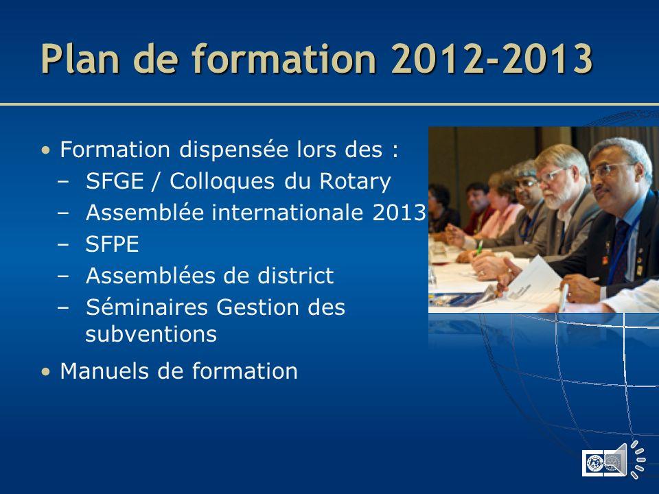 Plan de formation 2011-2012 Les dirigeants de district lancent la phase de transition : – Sabonner au bulletin Vision pour lavenir – Lire Transition v