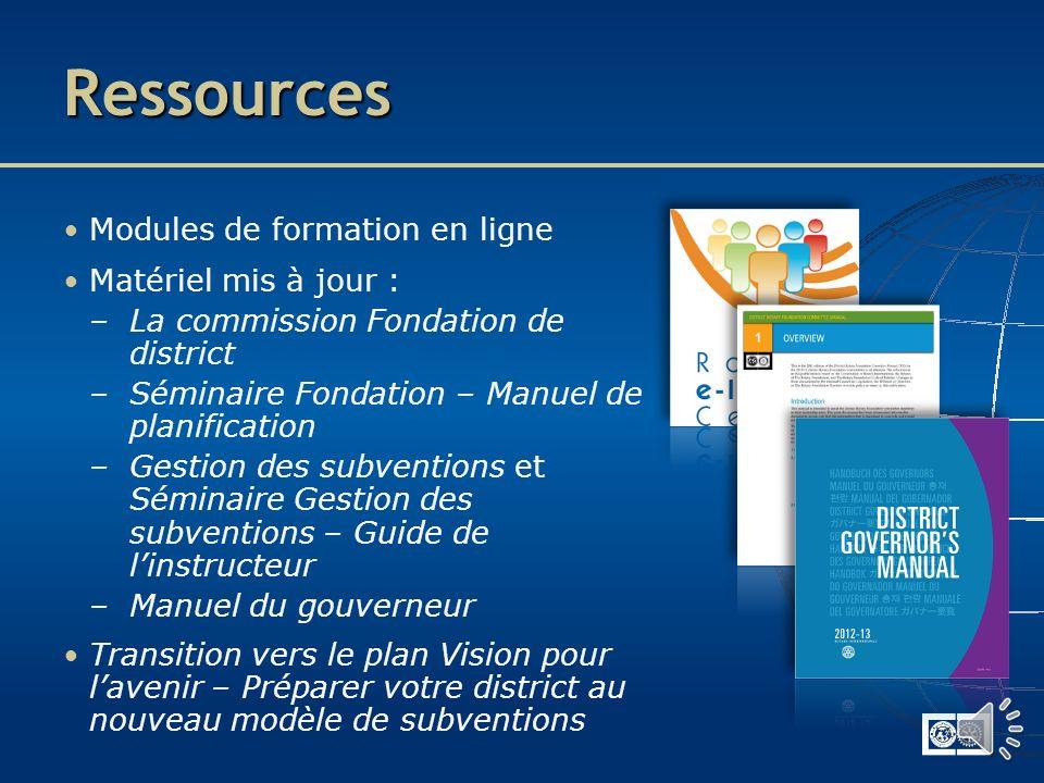 Plan de formation 2012-2013 Formation dispensée lors des : – SFGE / Colloques du Rotary – Assemblée internationale 2013 –SFPE – Assemblées de district – Séminaires Gestion des subventions Manuels de formation