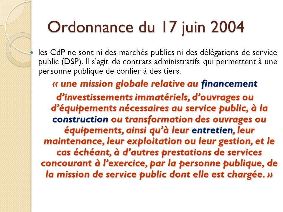 Ordonnance du 17 juin 2004 les CdP ne sont ni des marchés publics ni des délégations de service public (DSP).