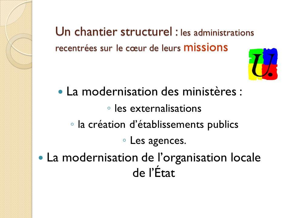 Un chantier structurel : les administrations recentrées sur le cœur de leurs missions La modernisation des ministères : les externalisations la création détablissements publics Les agences.